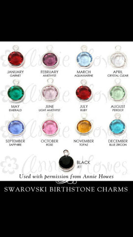 Add on Swarovski crystal birthstone