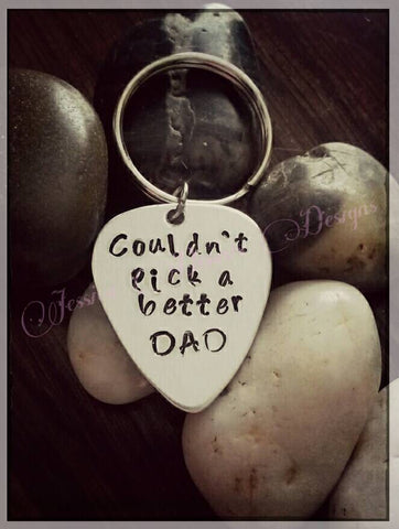 Dad Guitar Pick Keychain * Hand Stamped * Can be made to say anything you want!