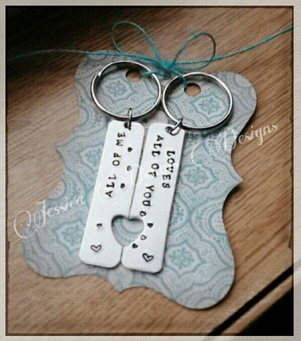 All of Me Loves All of You Set of 2 Keychains * Couples keychains *  Matching set * Heart keychains * Song inspired * Anniversary * Wedding