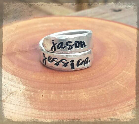 Hand Stamped Wrap around Ring - Personalized with up to 20 characters - Hypoallergenic grade aluminum - Will not tarnish - Great gift