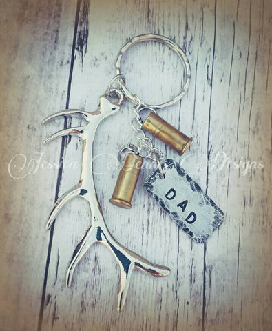 Large Antler Keychain - Bullet Shells - Hand stamped name tag Daddy Grandpa Uncle Name Hunter Father's day Birthday *Limited Quantity!*