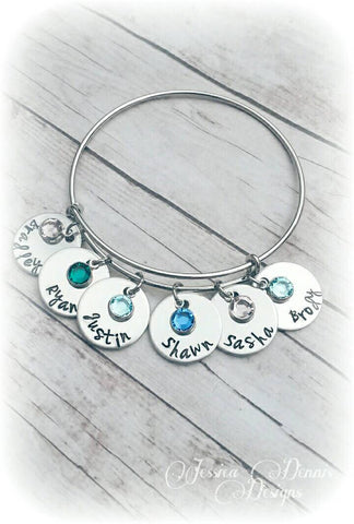 Mother's Bracelet *Grandmother's bracelet* Expandable Bangle* Mother's Day*Children's names and birthstones* Read entire Description please!