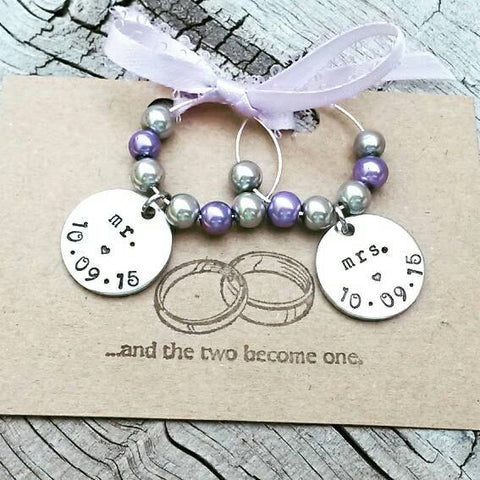 Set of 2 Mr.& Mrs. Wine Glass Charms - Hand Stamped - Personalized with Wedding Date - You choose pearl colors