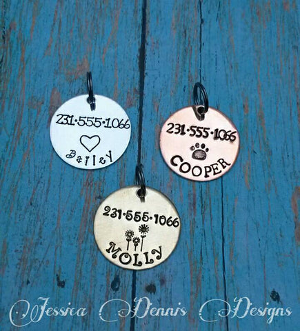 Pet ID Tag - Custom Made - Hand Stamped - Personalized - Dog ID - Dog Name Tag
