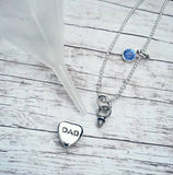 Cremation Necklace Daddy - I miss you Dad - Tiny Urn Necklace - Custom Made Urn necklace - Heart Necklace - Memorial Necklace - My Angel