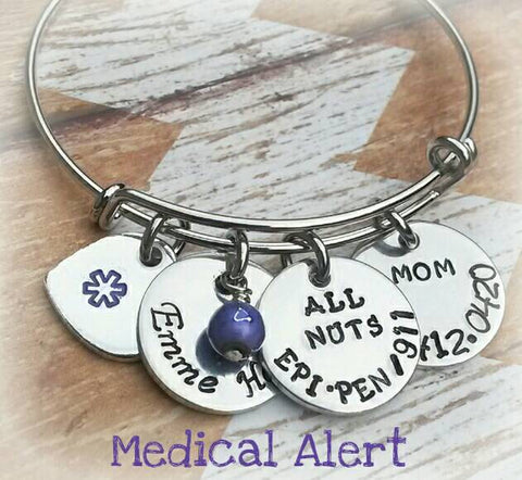 Medical Alert Bracelet - Purple Medical Alert Bangle - Medical ID - Medical Alert Jewelry - Diabetic - Allergy Bracelet - Pretty Bracelet