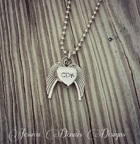 Cremation Necklace Dad - Angel Wings - Tiny Urn Necklace - Custom Made Urn necklace - Heart Necklace - Memorial Necklace - My Angel