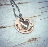 SALE - Cremation Necklace - Copper - Urn Necklace - Custom Made Urn necklace - Heart Necklace - Memorial Necklace - Until we meet again