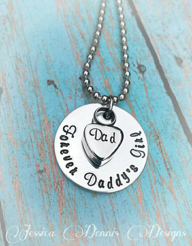 Cremation Necklace - Daddy's Girl - Urn Necklace - Custom Made Urn necklace - Heart Necklace - Memorial Necklace - Dad loss - Sympathy Gift