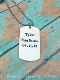 Ring Bearer Gift - Wedding Date - Personalized Dog Tag Necklace - Boy Gift