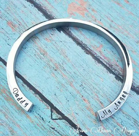 SALE! Cremation Bangle - Urn Bracelet - Personalized - Custom Urn Jewelry - Memorial Jewelry - Daddy My Angel - Cremation Bracelet