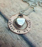 Cremation Necklace - Copper - Urn Necklace - Custom Made Urn necklace - Heart Necklace - Memorial Necklace - Always in my heart