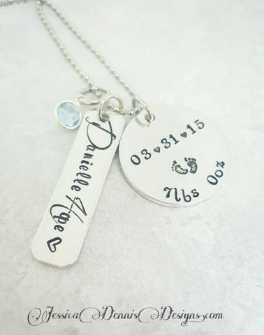 Mother's Necklace - New Mom Gift - Mother's day - Personalized Hand Stamped - Birthstone Necklace - Birth Announcement Jewelry