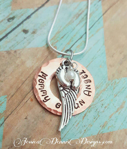 mommy of an angel mixed metals necklace child memorial necklace