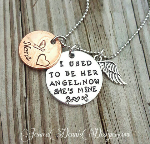 Custom made to order - Memorial Necklace * I used to be her Angel, now she's mine - Personalize  - Mom - Nana - Dad - Pennies From Heaven