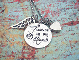 Cremation Pet Loss Necklace - Personalized Pet Loss - Pet Sympathy Gift - Urn for pet ashes - Furever in my heart - All dogs go to Heaven