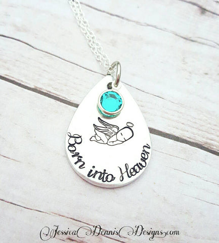 SALE - Born into Heaven baby loss necklace with birthstone*  Hand Stamped - Miscarriage Jewelry - Child Loss Necklace - Memorial Jewelry