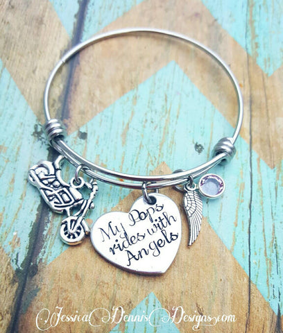 "Child's Size Personalized ""My Pops rides with angels"" Motorcycle ""My Dad rides with angels"" Memorial hand stamped with birthstone - Custom"