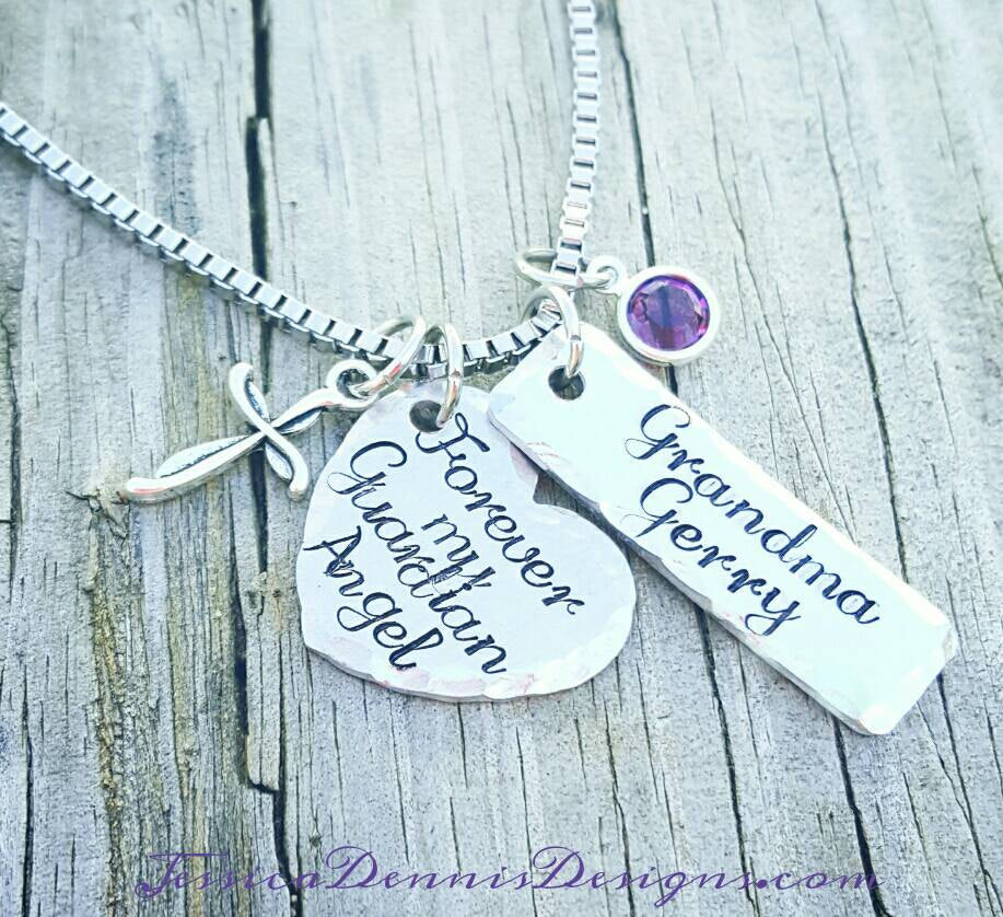 Memorial Necklace * Forever My Guardian Angel  - Personalize Mawmaw - Grandma  - Mom - Dad -Birthstone - In Memory Of - Cross Heart