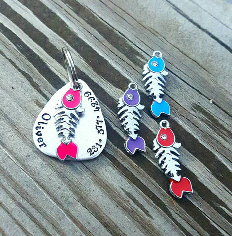Hand stamped cat tag - Name & Phone number - Fish charm Choose Your Color - Kitty Bling- Cat Jewelry - Cat Charm - Fish bone - Cat ID