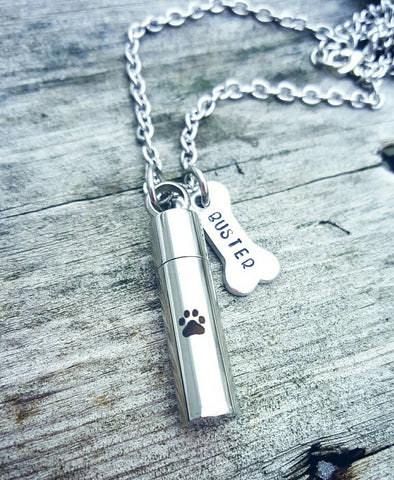 Cremation Pet Loss Necklace - Pet loss Memorial - Pet Fur Vial - Urn Jewelry - Personalized with Pet's name - Pet Ashes - Dog Bone Necklace
