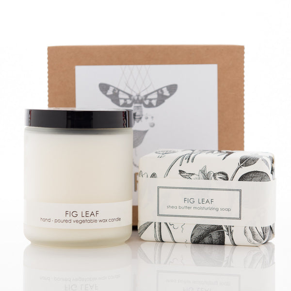 Shea Butter Soap and Botanical Candle Gift Set - Fig Leaf