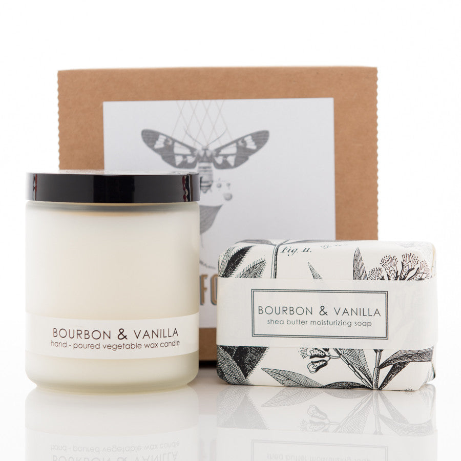 Shea Butter Soap and Botanical Candle Gift Set - Bourbon & Vanilla