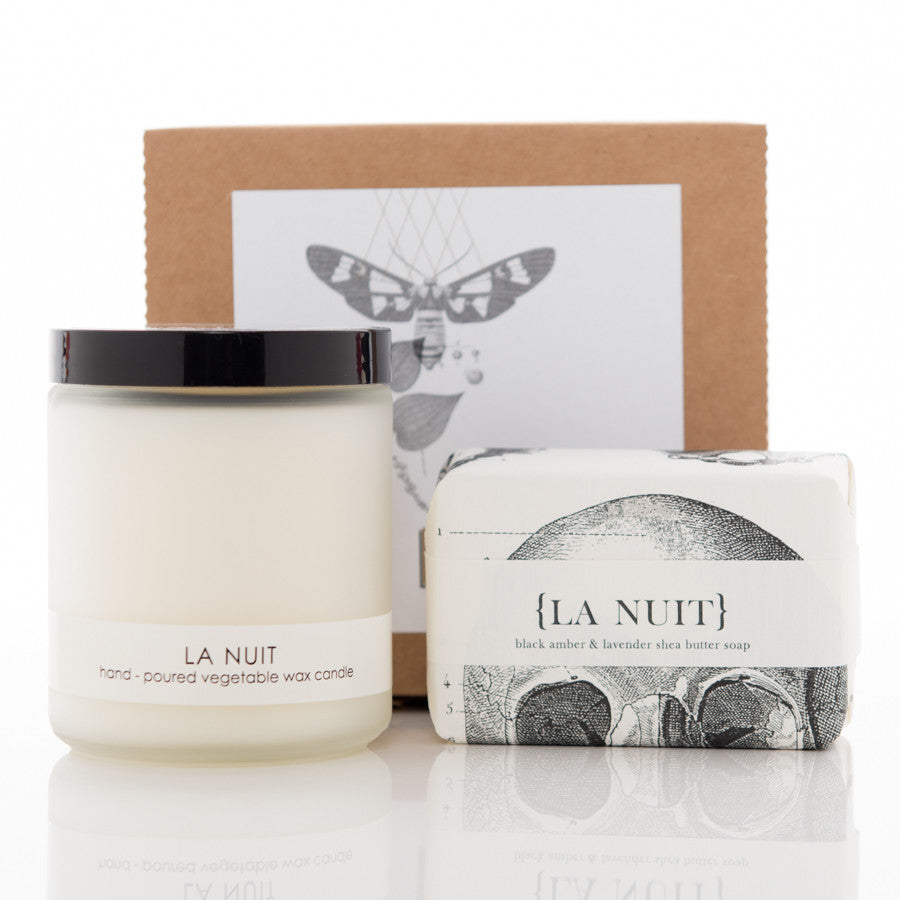 Shea Butter Soap and Botanical Candle Gift Set - La Nuit