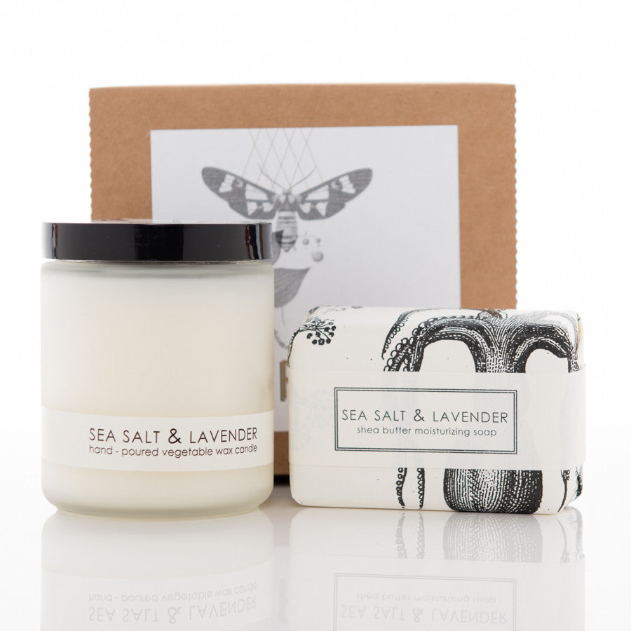 Shea Butter Soap and Botanical Candle Gift Set - Sea Salt & Lavender