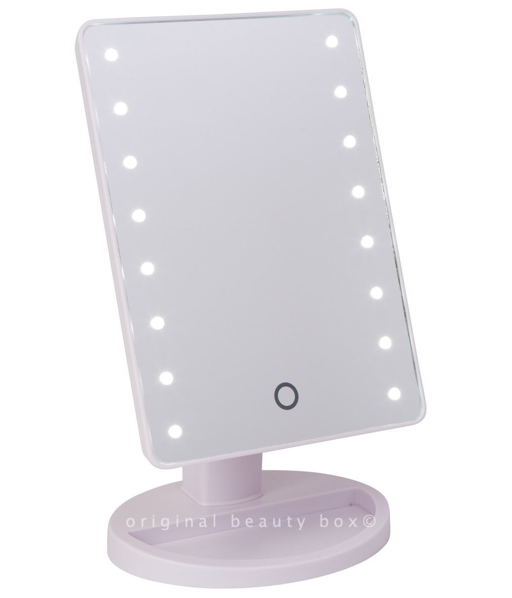 stand up vanity mirror with lights. Original Beauty Box WHITE MINI LIGHT UP VANITY MIRROR