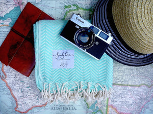 Travel Towels - Luxe Traveller - Turkish Towel - Arctic Green