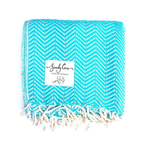Travel Towels - Luxe Traveller - Turkish Towel - Bahamas Blue