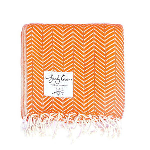 Travel Towels - Luxe Traveller - Turkish Towel - Orange Sherbet