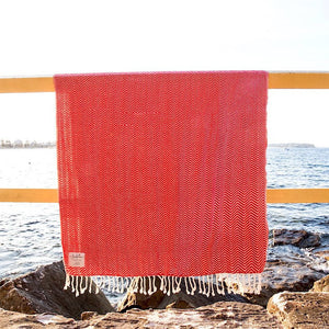 Travel Towels - Luxe Traveller - Turkish Towel - Strawberry Red
