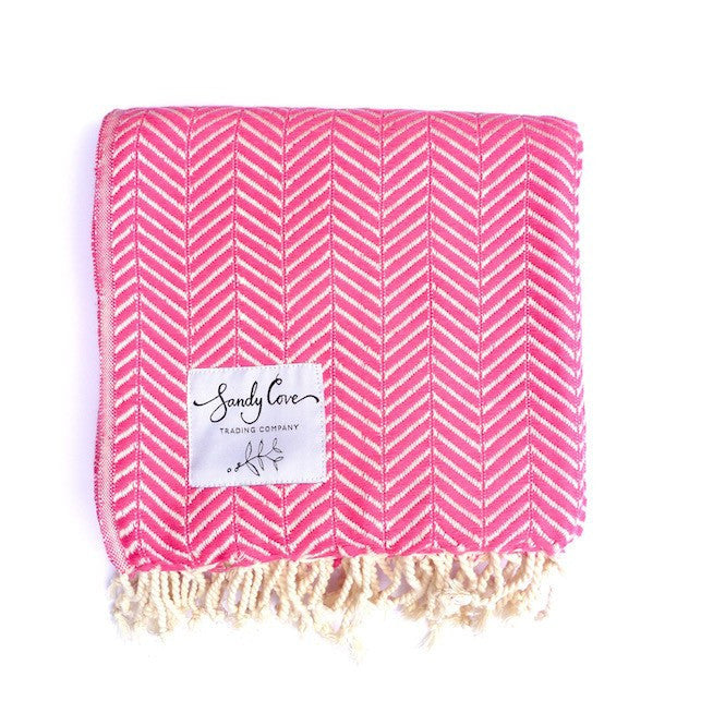 Travel Towels - Luxe Traveller - Turkish Towel - Watermelon Pink