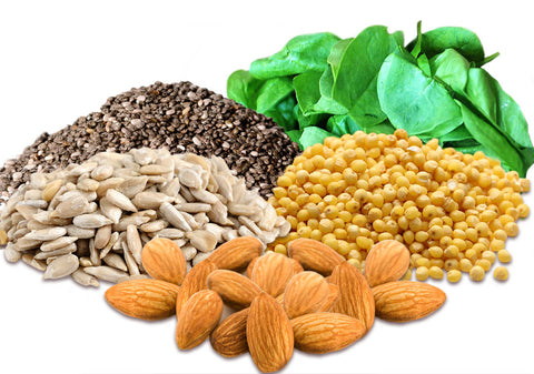 5 Plant Based Proteins: Chia Seeds, Quinoa, Sunflowers Seeds, Nuts and Leafy Greens
