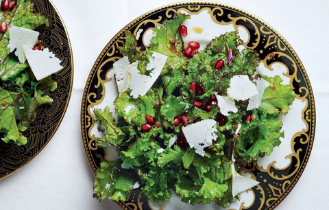 Kale with Pomegranate Dressing & Ricotta Salata