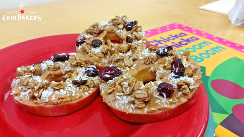 Healthy Apple Pizza with Granola, Coconut, Peanut Butter Toppings