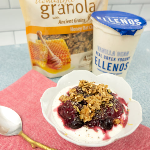 berry compote on yogurt with granola