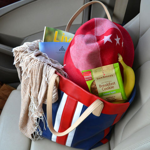 Caramel Apple Breakfast Cookie in tote bag with other road trip essentials