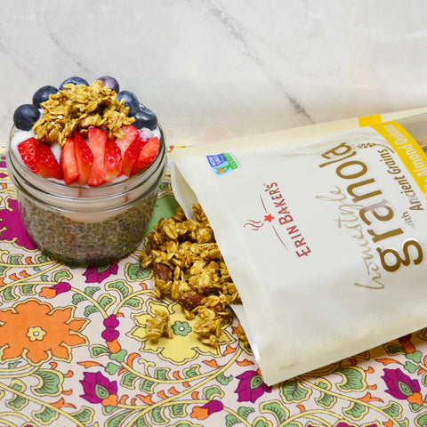 Cashew Milk Chia Seed Pudding Topped with Granola & Fruit