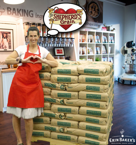 Erin Baker giving love to Shepherd's Grain Flour