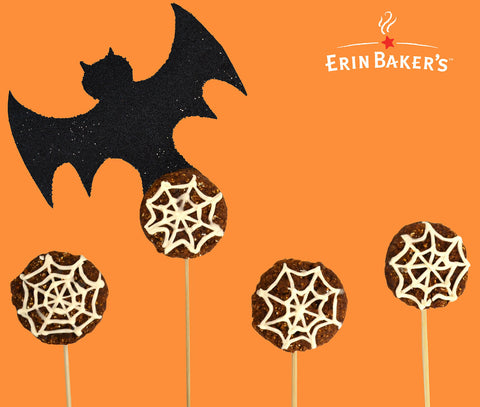 Halloween Cake Pop Minis with Spider Web Frosting