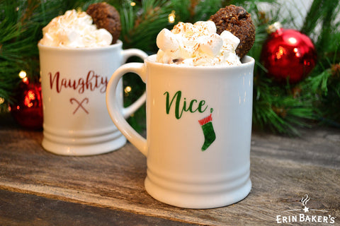 Hot Chocolate with a Mini Cookie in Naughty & Nice Mugs