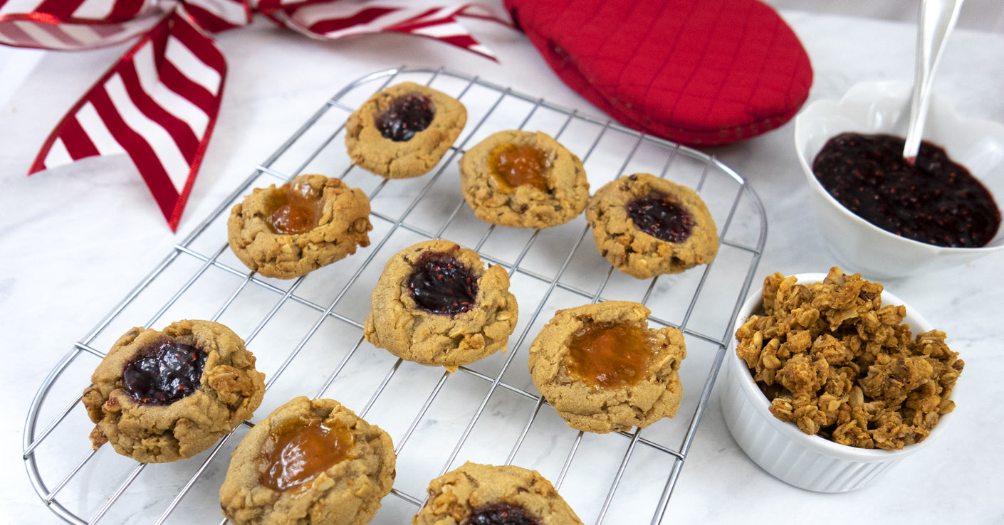 Peanut Butter Granola Thumbprint Christmas Cookies