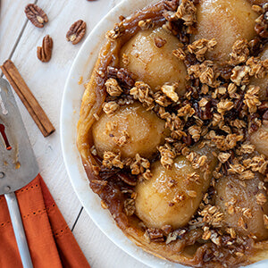 Pear Tarte Tatin with Maple Pecan Granola Topping