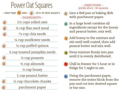 Power Oat Squares Recipe Card