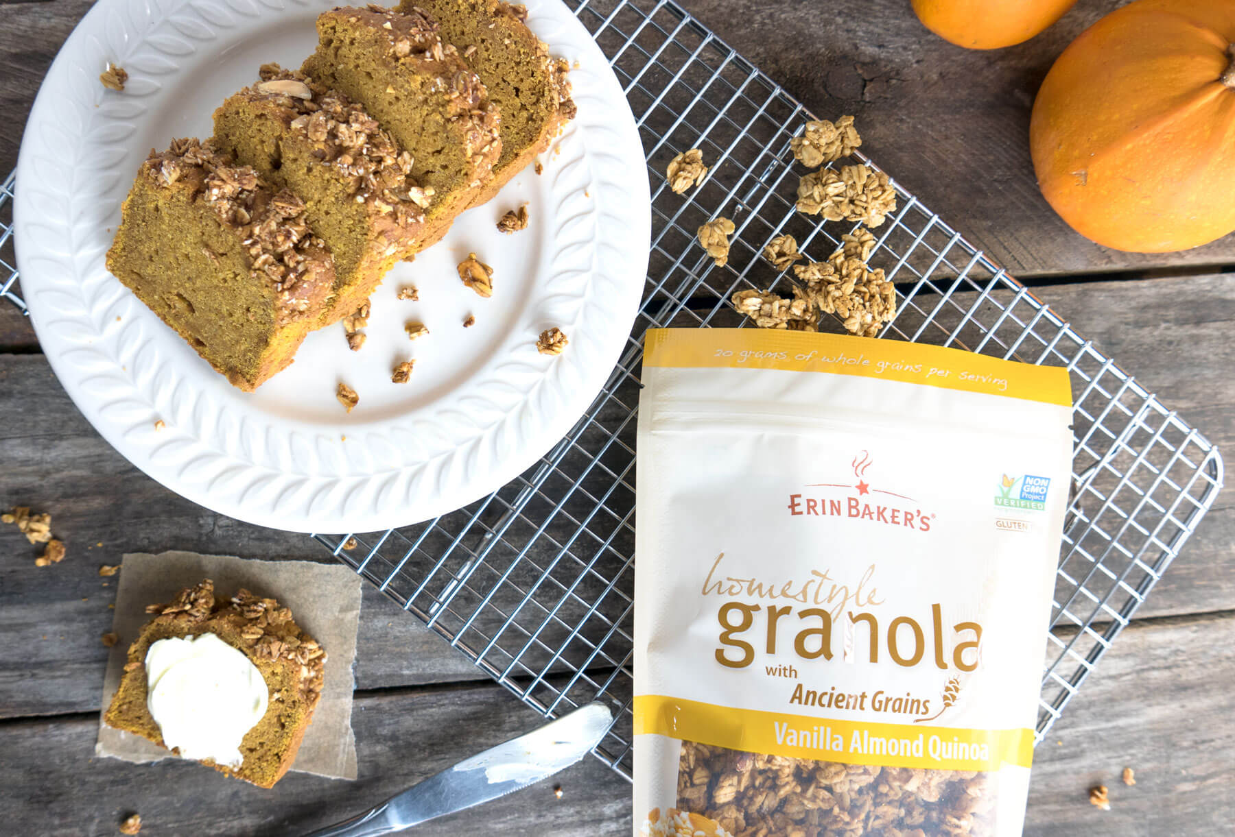 pumpkin loaf with vanilla almond quinoa granola