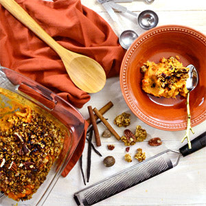 Sweet Potato Casserole Recipe topped with Maple Pecan Granola