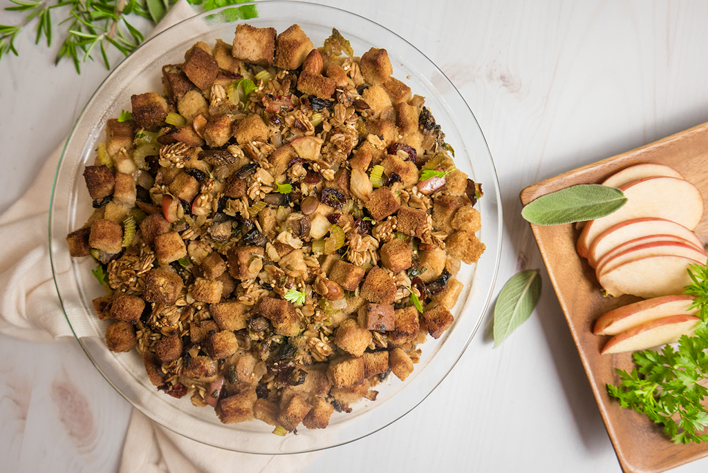 gluten free plant based thanksgiving stuffing
